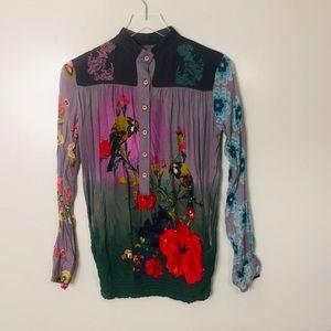 Desigual Vibrant Pattern Shirt. Size Small